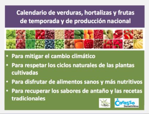 Calendario de verduras, frutas y hortalizas de temporada y de producción nacional