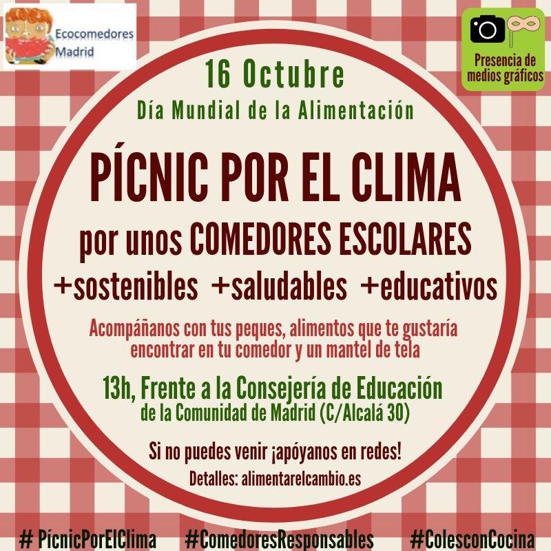 PÍCNIC POR EL CLIMA… y por una alimentación sana y sostenible en los comedores escolares madrileños